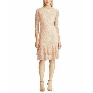 Lauren Ralph Lauren Lace Drop-Waist Dress Pink